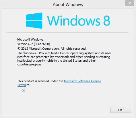 Build info for commercial Windows 8 versions.