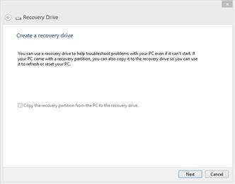 The first screen for Recovery Disk lets you know if you've got a recovery drive to copy or not.