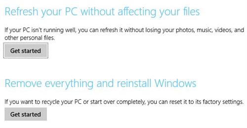 Under some conditions neither of this options will appear on the Update and Recovery settings page.