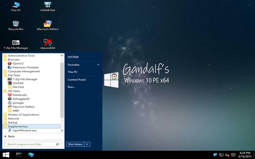 Gandalf's Windows PE tools for Win10 x64