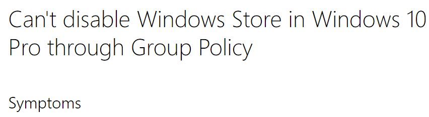 blocking Store access in Windows 10 Pro no longer possible