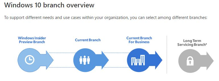 selecting a service branch is a key element in any Windows 10 pilot program