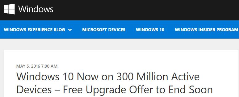 Free Win10 Upgrade Ends 7/29/2016