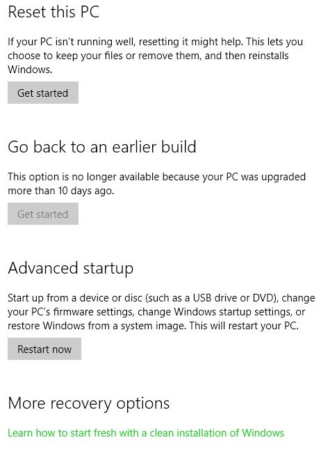 Windows 10 fresh start