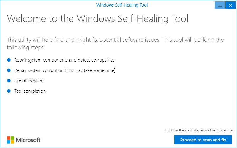 Windows Self-Healing Tool opening screen
