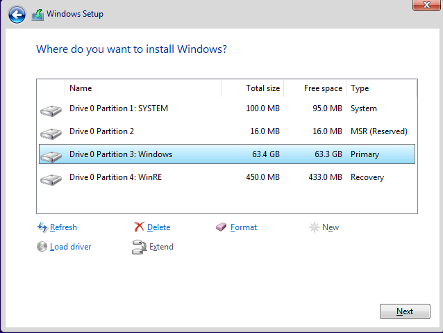 Partition UEFI/GPT HDD Using Diskpart - Windows Enterprise Desktop