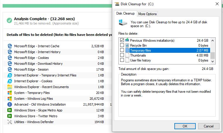 Disk Cleanup Beats CCleaner Post-Win10-Upgrade