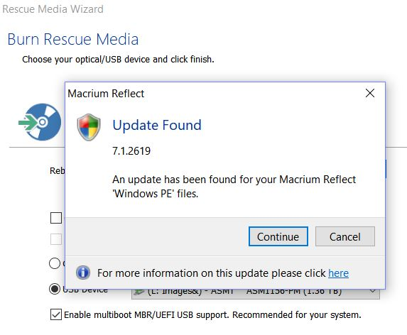 New Reflect Needs New Rescue Media