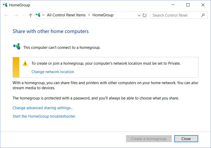 HomeGroup Trick Fixes Win10 Public Network Reset