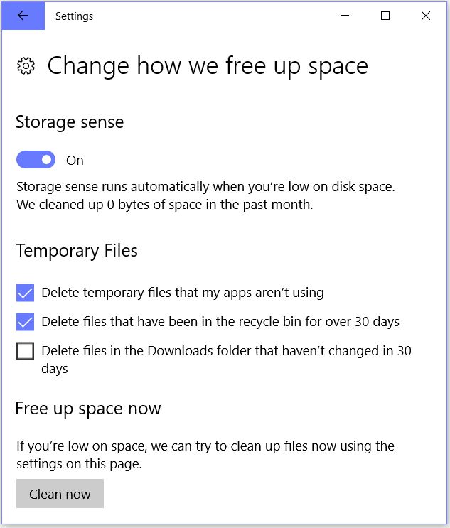 Win10 Settings System Storage Sense File Clean-up