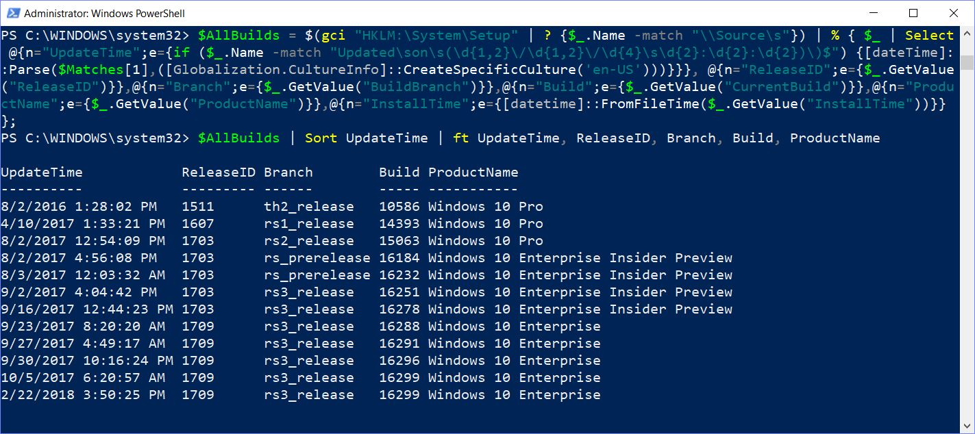 Script Out Your Win10 Build History Using PowerShell
