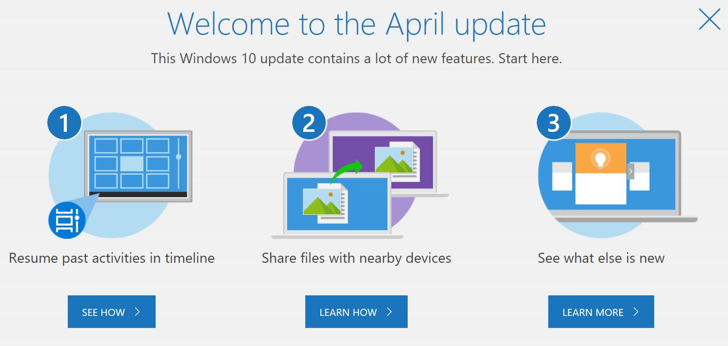 Build 1803 Equals April Update.welcome