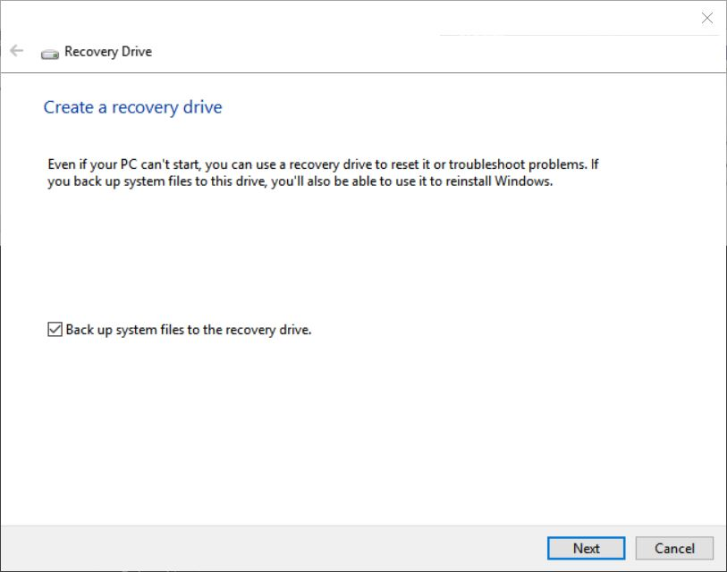 Fixing Recovery Drive Creation Problems.start