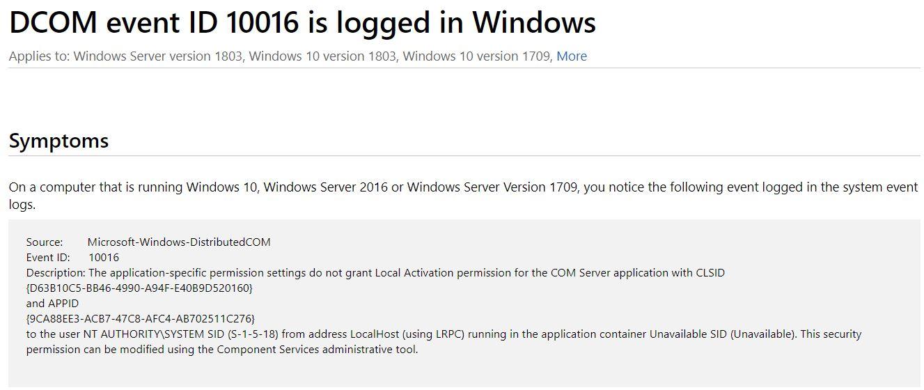 Win10 DCOM 10016 Errors Are Mostly Benign - Windows Enterprise Desktop