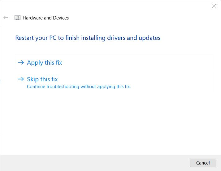 Fixing Win10 Restart PC to Finish Installing Drivers Issue.troubleshooter