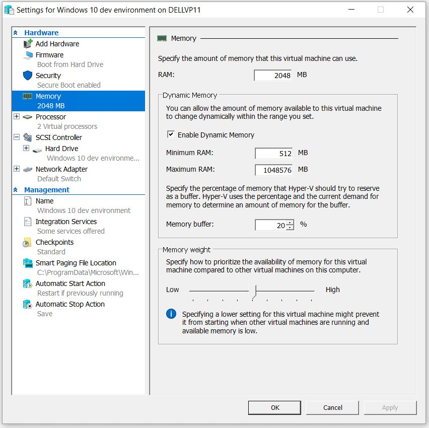 Win10 Hyper-V VMs Benefit from More VRAM.RAMsettings