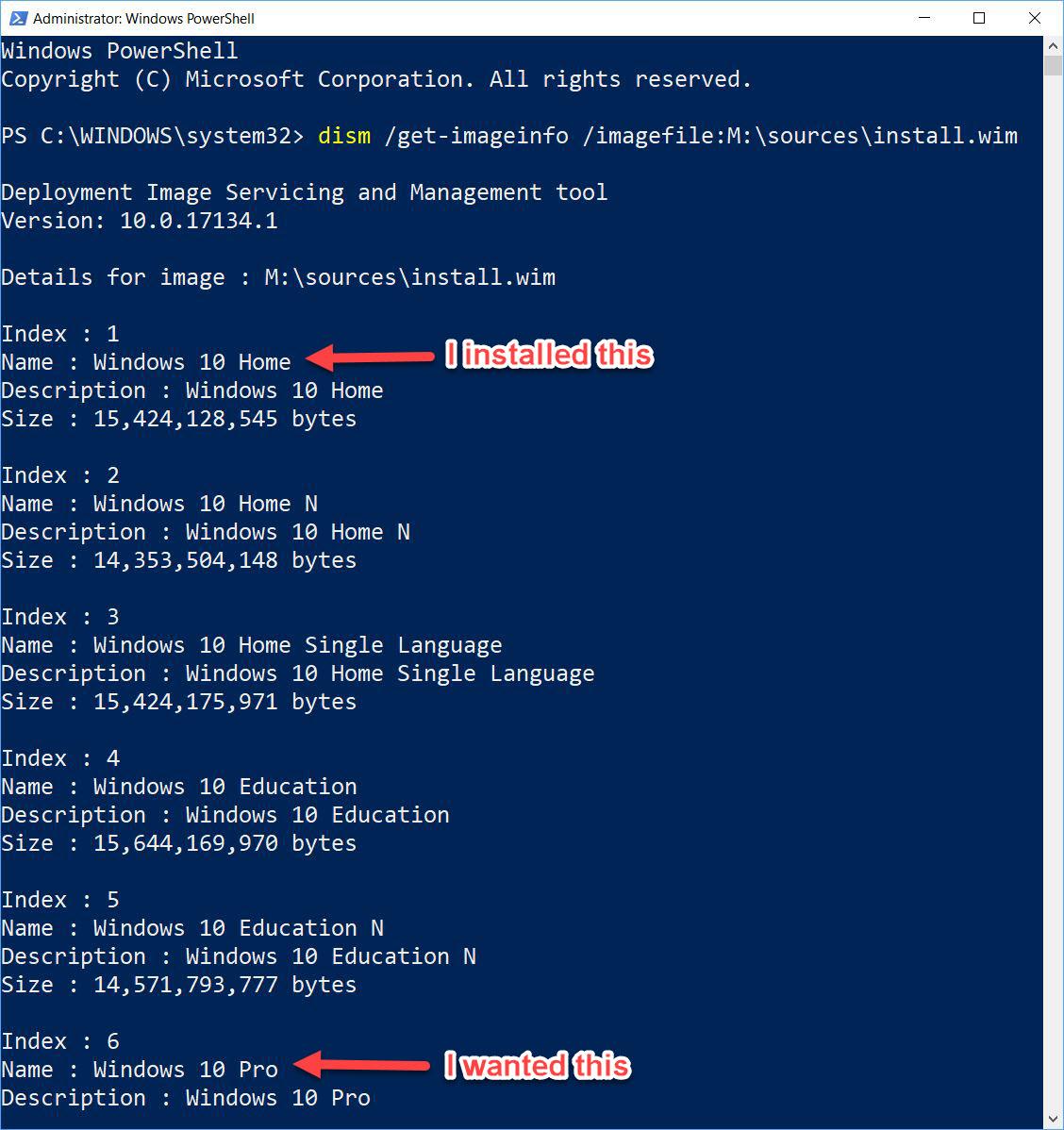 DISM Mount-Image Grabs Selected Image Installer.wiminfo
