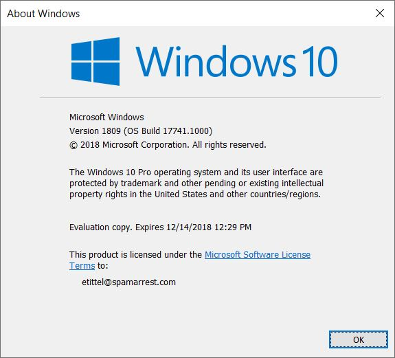 Win10 Version 1809 Makes Official Debut.17741.winver