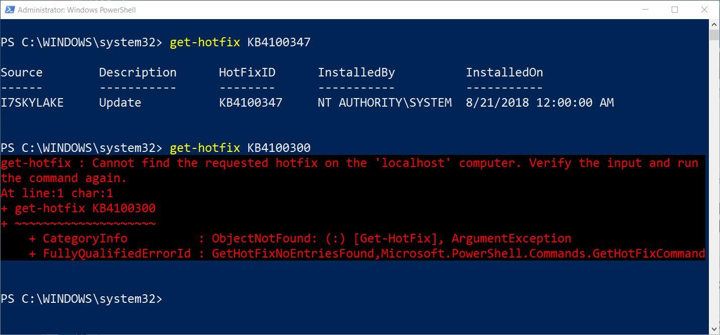 PS Get-HotFix Cmdlet Checks Update Status.screencap