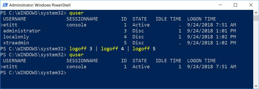 Logoff Disconnected Win10 Users Via Command Line.ps