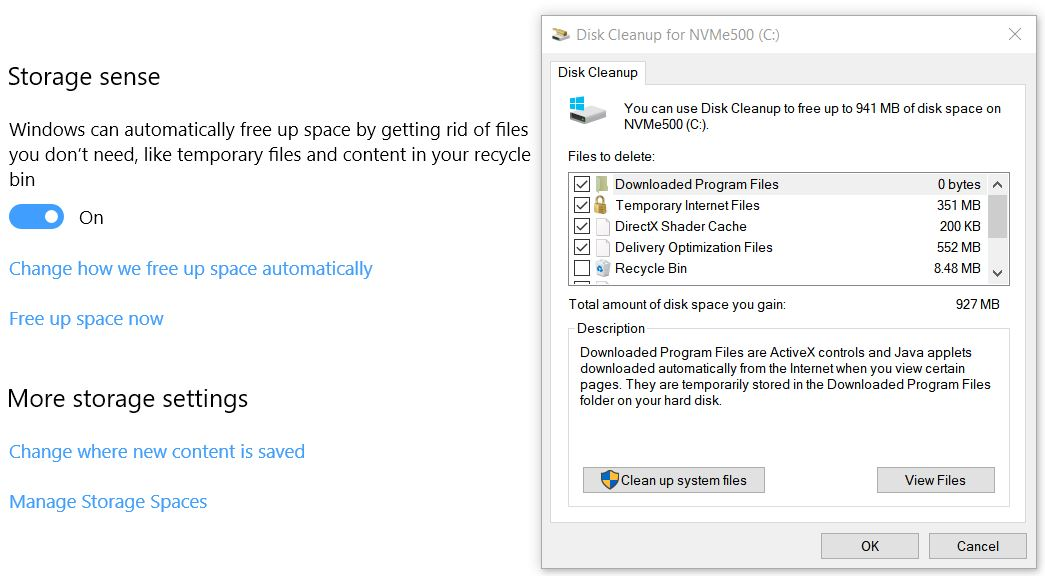 bye-bye disk cleanup.settings