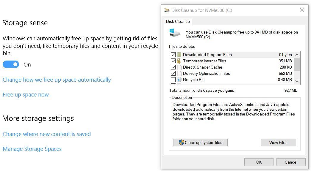 bye-bye disk cleanup.settings