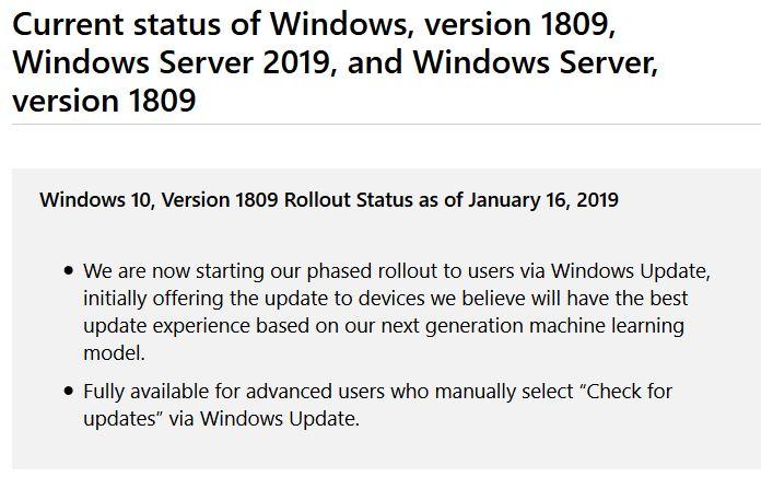 Windows 10 1809 versus 1901.info