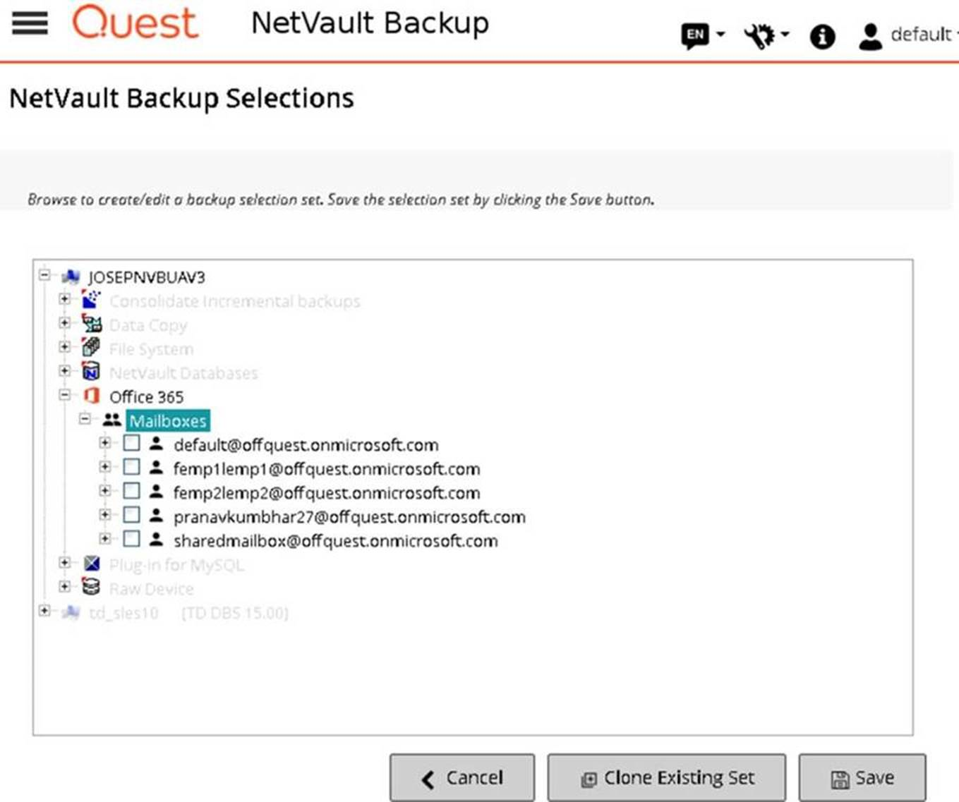Screenshot of Quest NetVault Backup's Office 365 support