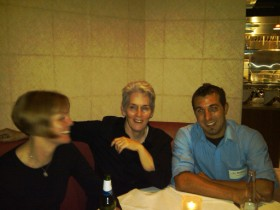 TechTarget editors Jo Maitland, Jan Stafford and Dan Mondello relax after Tuesday's sessions.
