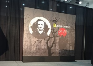 Keynote stage at SecureWorld Boston. This year's theme was inspired by Edgar Allen Poe.