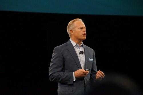 Mike Grégoire, ici lors de son discours d'ouverture de CA World 2013, est le nouveau CEO de CA Technologies. (crédit photo : C.Bardy)