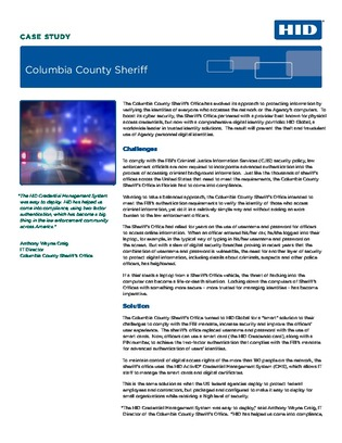 How the Columbia County Sheriff's Office is able to authenticate users