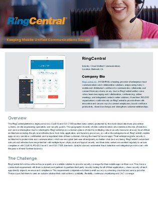 How RingCentral addressed securing testing issues using Data