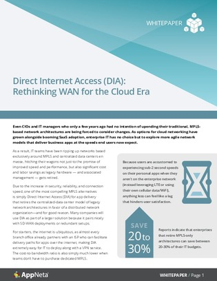 Using Direct Internet Access (DIA) to retire your legacy