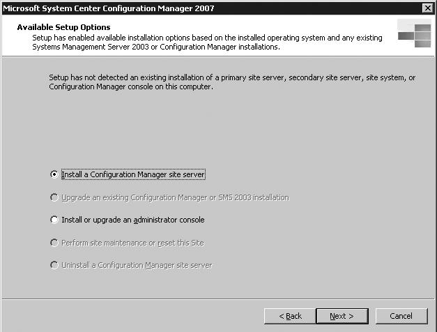 Microsoft System Center Configuration Manager 2007 installation steps