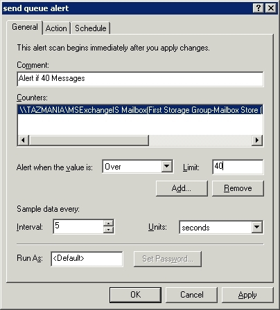 Exchange 2003 Performance Monitor counter