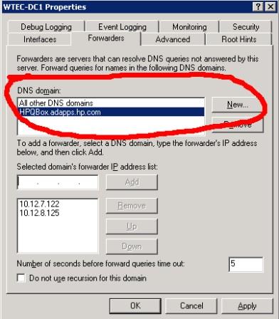 Configuring DNS server properties