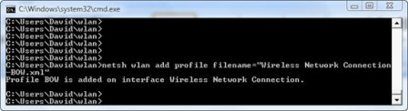 adding a new profile with Netsh WLAN