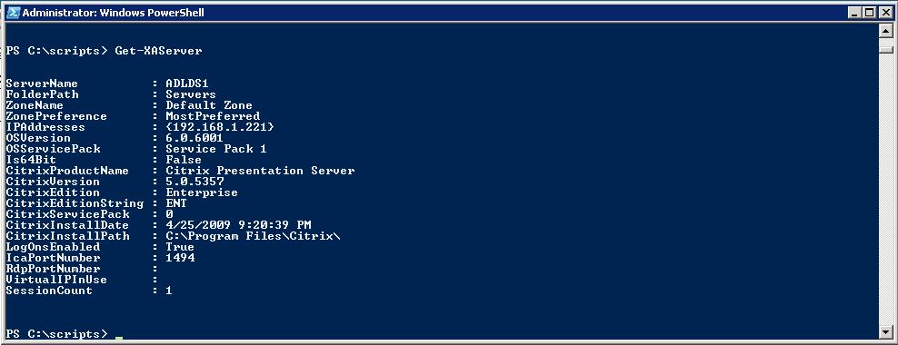 XenApp cmdlets for Windows Powershell