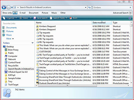 Windows Vista's Desktop Search feature indexes Exchange Server email