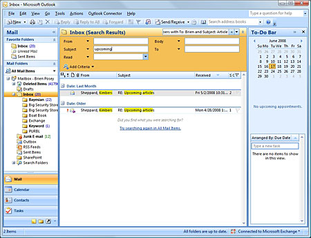 Microsoft Outlook 2007 search options
