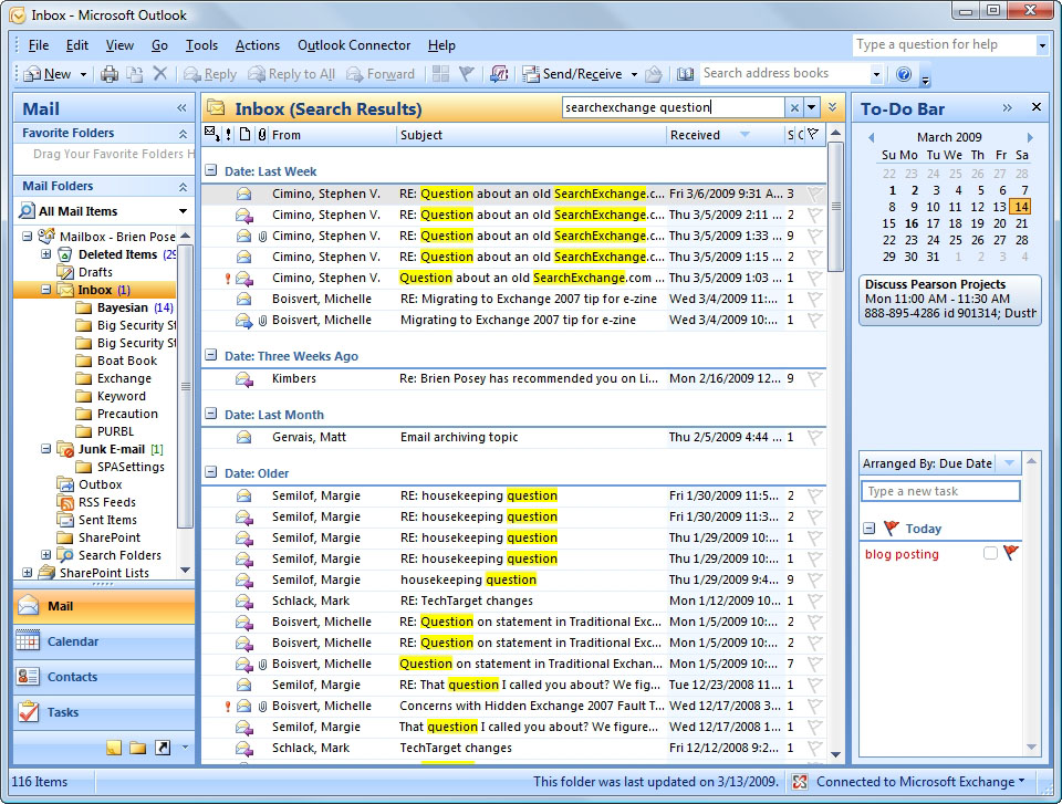 Performing advanced search queries in Microsoft Outlook 2007