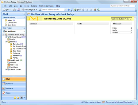 Microsoft Outlook's Outlook Today screen