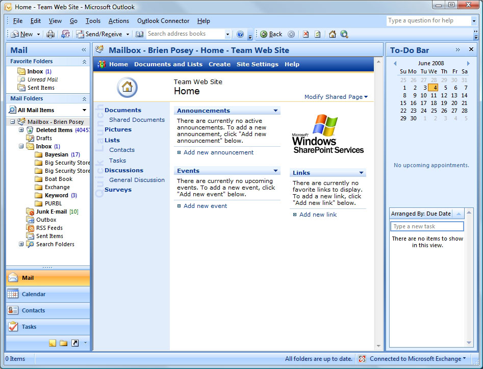 how to access sharepoint sites through microsoft outlook