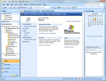a Microsoft Outlook folder can be associated with a SharePoint site