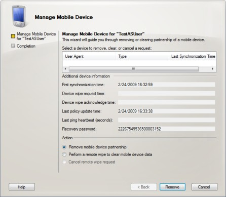 Manage the Mobile Device dialog box