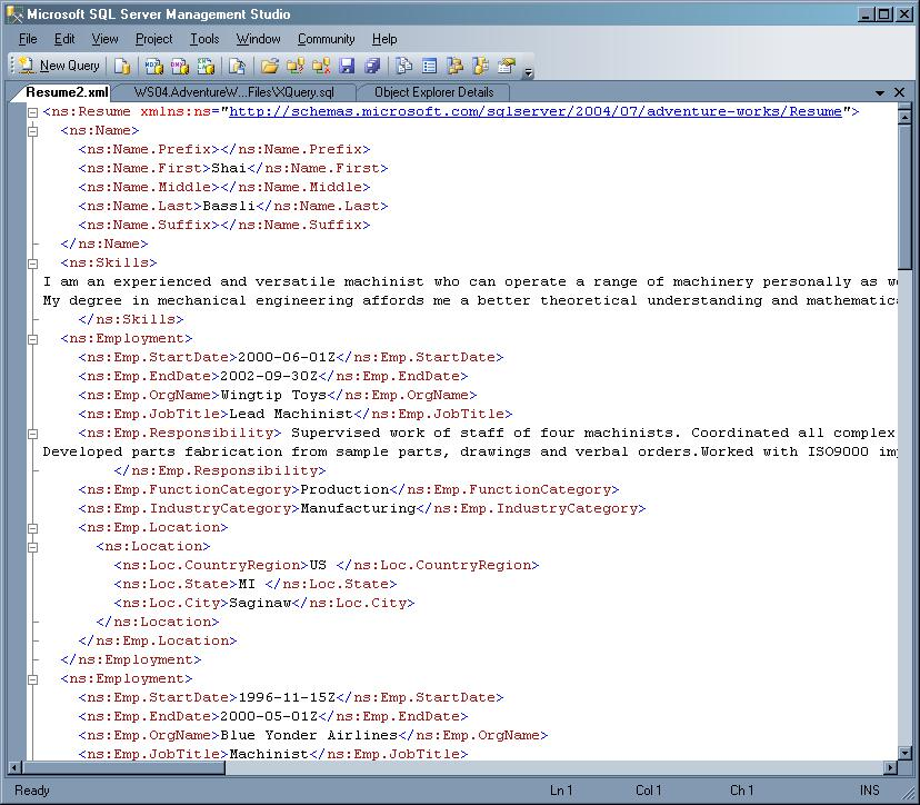 Retrieve XML data values with XQuery in SQL Server 2005