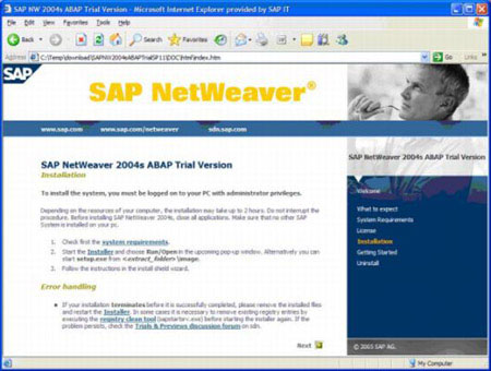 Download and install a free trial version of SAP ABAP software