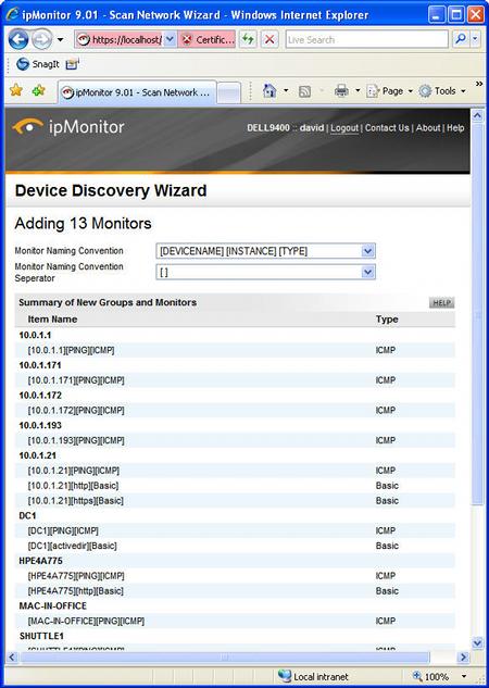 ipMonitor adding monitors