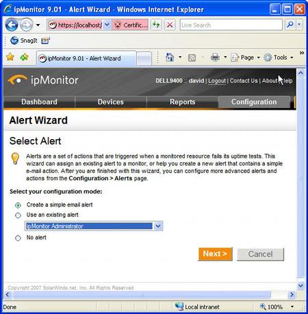 alert wizard
